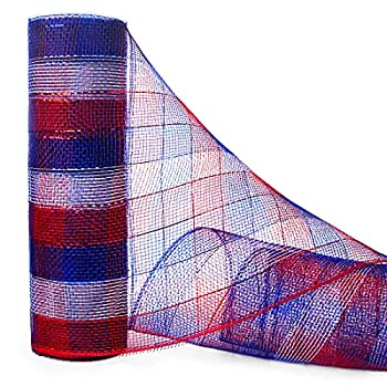 Ribbli 4th of July Deco Poly Mesh Ribbon,10 inch x 30 feet 10Yard  Each Roll,Metallic Red/White/Blue Check,Patriotic Ribbon for Memorial Day Veterans Day,President s Day,Wreath Decorations