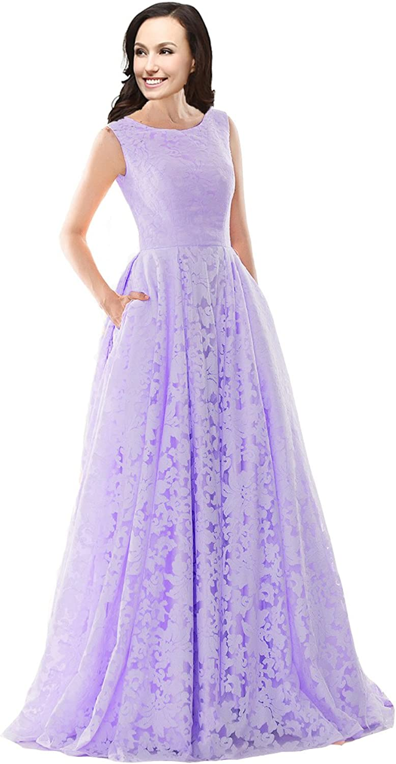 Lemai A Line Lace Corset Simple Sleeveless Long Prom Evening Dresses