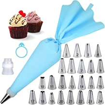 Piping Bag and Tips Set 24 Pcs Numbered Cake Decorating Tips with Silicone Pastry Bag,1Reusable Coupler,1Frosting Bag Tie ...