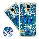 HMTECHUS Galaxy S5 case for Girl 3D Painted Glitter Liquid Sparkle Floating Luxury Quicksand Shockproof?Protective Diamond Silicone Slim Cover for Samsung Galaxy S5 I9600 -Bilng Blue Butterfly YB