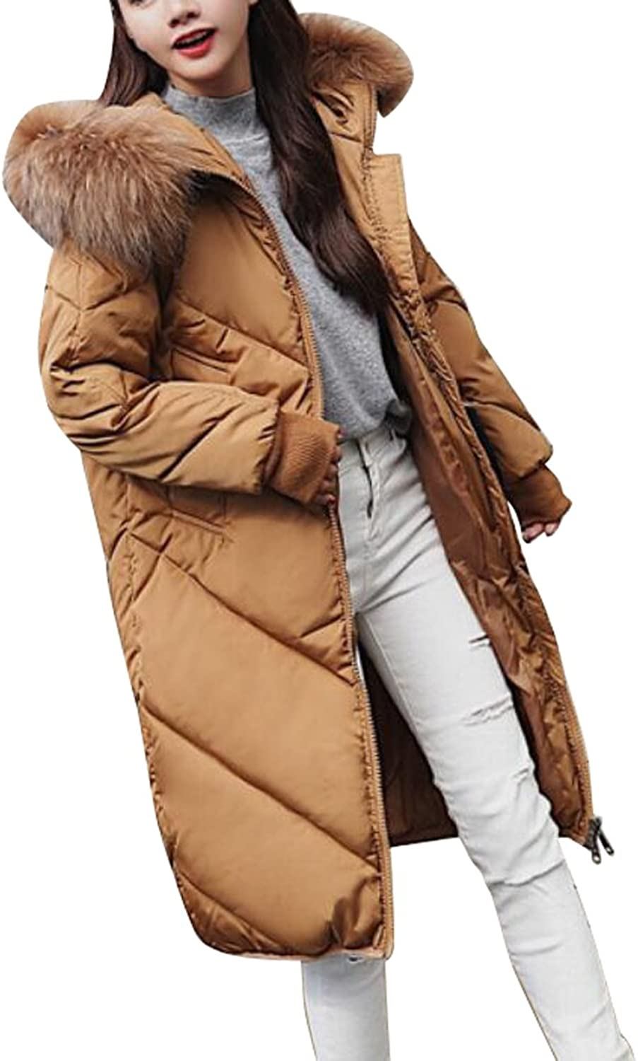 LD Womens Warm Long Faux Fur Hooded Down Quilted Puffer Jackets Coats