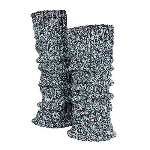 Piarini 1 Paar Grobstrick Stulpen Damen Bein - warme Winter Beinstulpen - One-Size Wolle Multicolour-Blau