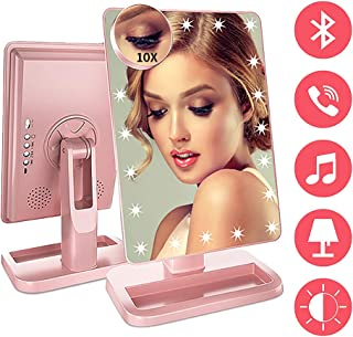FENCHILIN Vanity Mirror with Lights Bluetooth Lighted Makeup Mirror Touch Screen Wireless Audio Speaker Dimmable Light Detachable 10X Magnification Rechargable Power (Rose Gold)