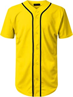 Mersenne Men's Baseball Jersey Button Down Short Sleeve Shirts