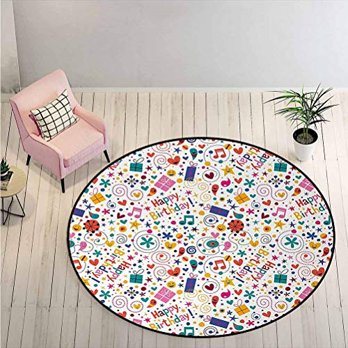 LiHomecurtain Area Rug Dotted Spirals Stars Hearts Musical Notes Surprise Present Boxes Pattern Smiling Simple Modern Carpet/Round Rug Perfect for Your Art Loft Multicolor Diameter - 2 Feet
