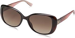 GUESS Gu7554 - anteojos de sol cuadradas para mujer, color café oscuro, 54 mm