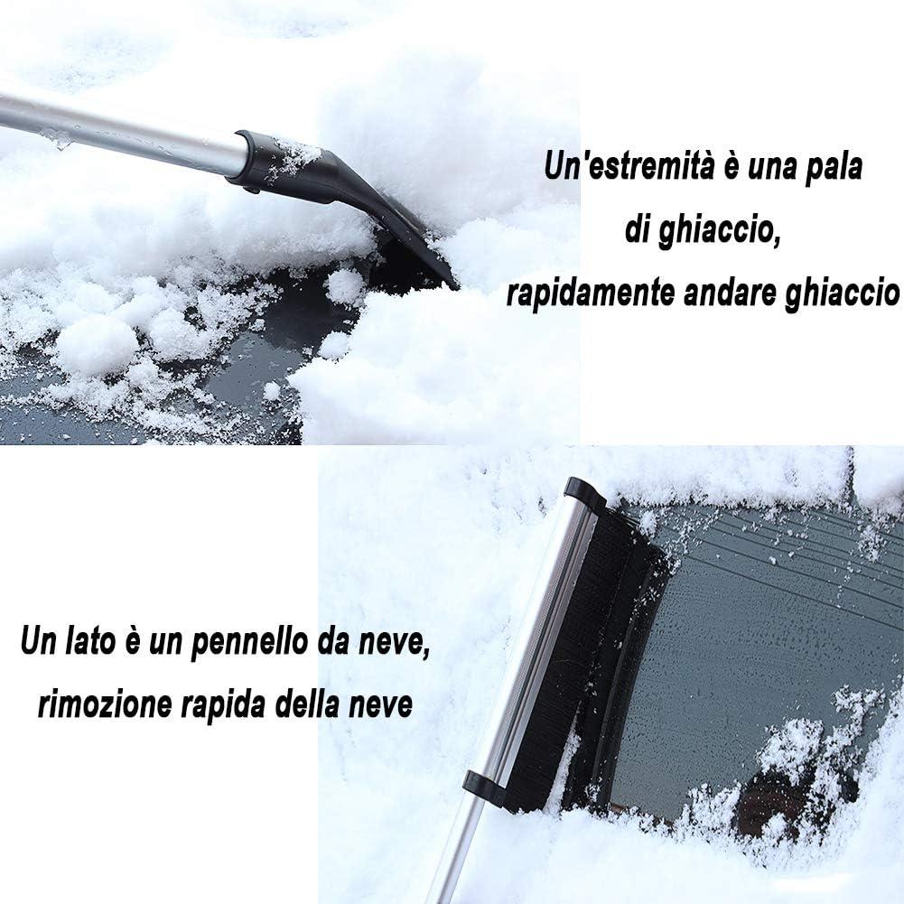 Pala de Nieve y Tira de limpiaparabrisas TRP Acero Inoxidable JTENG Raspador de Hielo rasqueta Multiusos para Quitar el Hielo del Coche 2-2 IN 1