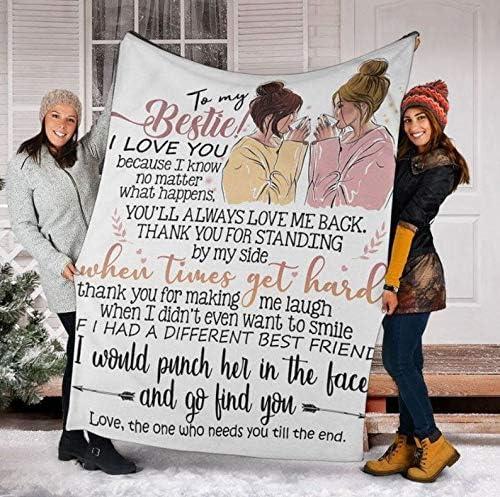 to My Bestie Cute 卸直営 返品送料無料 Blanket Fleece Plush Velveteen Sherpa