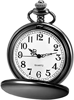 Classic Smooth Vintage Quartz Pocket Watch, Arabic Numerals Scale Mens Womens Watch with..