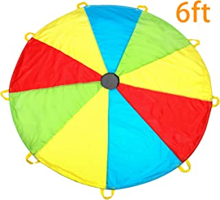 MountRhino Kids Parachute, 6ft Play Parachute with 9 Handles - Multicolored Parachute for Kids, Kids Play Parachute for Indoor Outdoor Games Exercise Toy