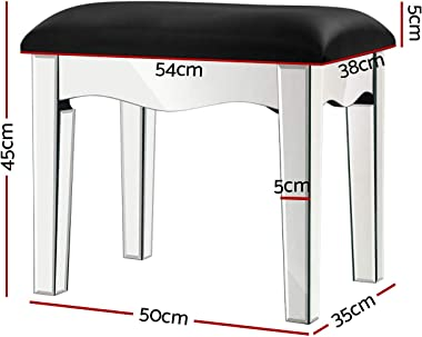 Artiss Dressing Stool Mirrored Vanity Stool Leather Upholstered Makeup Chair