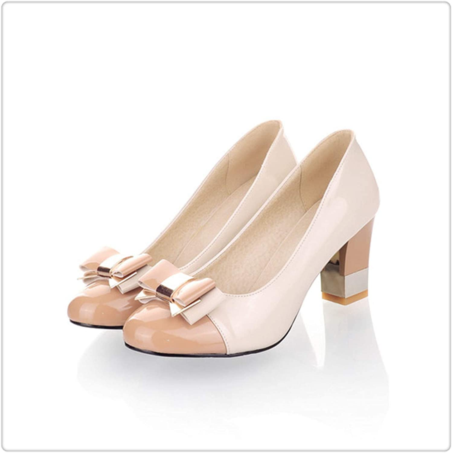 GLOPY& Ladies shoes Pumps Autumn Round Toe Basic Office Chunky High Heels Bow Candy