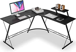 L Shaped Desk Home Office Desk with Round Corner Computer Desk with Large Monitor Stand Desk Workstation,Black