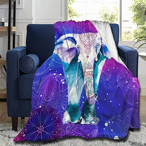 Manta de mandala morada, cómoda, suave, cálida, para sofá, silla, cama, oficina, aire acondicionado, manta de franela de 203 x 152 cm