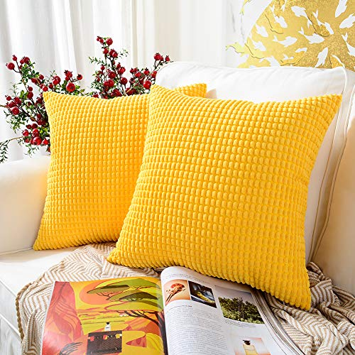 %5 OFF! MERNETTE Pack of 2, Corduroy Soft Decorative Square Throw Pillow Cover Cushion Covers Pillow...