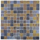 Azulejos de mosaico ECO reciclaje de cristal Eco negro antracita satén oro bronce óxido MOS360-357