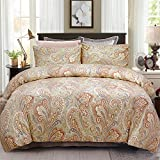 Softta Luxury Paisley Bedding Set 4Pcs Duvet Cover + Fitted Sheets Set + 2 Pillowcases King Size,100% Egyptian Long-Staple Satin Cotton Khaki