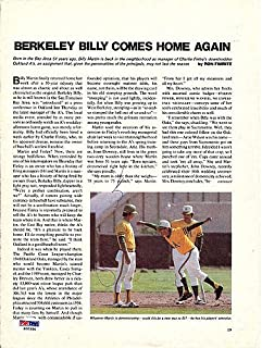 Billy Martin Signed Magazine Page Photo A's - PSA/DNA Authentication - Autographed MLB Photos