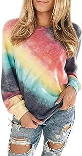 heekpek Sudaderas Mujer Sweatshirt Casual Pullover Mujer Tie Dye Sudaderas sin Capucha Cuello Redondo Camiseta Manga Larga...