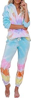 Asvivid Womens Tie Dye Printed Long Sleeve Tops and Pants Long Pajamas Set Joggers PJ Sets Nightwear Loungewear