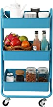 DESIGNA 3 Tier Metal Rolling Utility Storage Carts Little Organization Cart with Wheels for Office Indoor Home Kitchen Outdoor, Turquoise