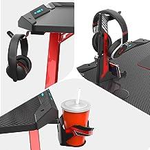 EUREKA ERGONOMIC Metal Gaming Accessories Bundle: Cup Holder, Headset Hook & Controller Game Rack (L, Black)