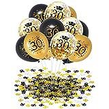 APERIL 30 Globos de Cumpleaños Negro Oro, 30 Piezas Globos Dorados Metalizados Globos Negros Globos de Confeti e 20g Confeti de Número 30 para 30 cumpleaños Hombre Mujer Aniversario Fiestas