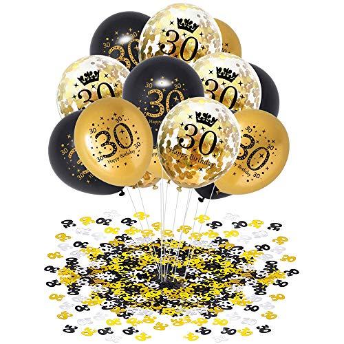 APERIL 30 Geburtstag Dekor Schwarz Gold, 30 Stück Luftballons Schwarz Luftballons Gold Konfetti Luftballons mit 20g Konfetti 30. Geburtstag, 30 Deburtstag Party Dekoration Mann Frau (30)