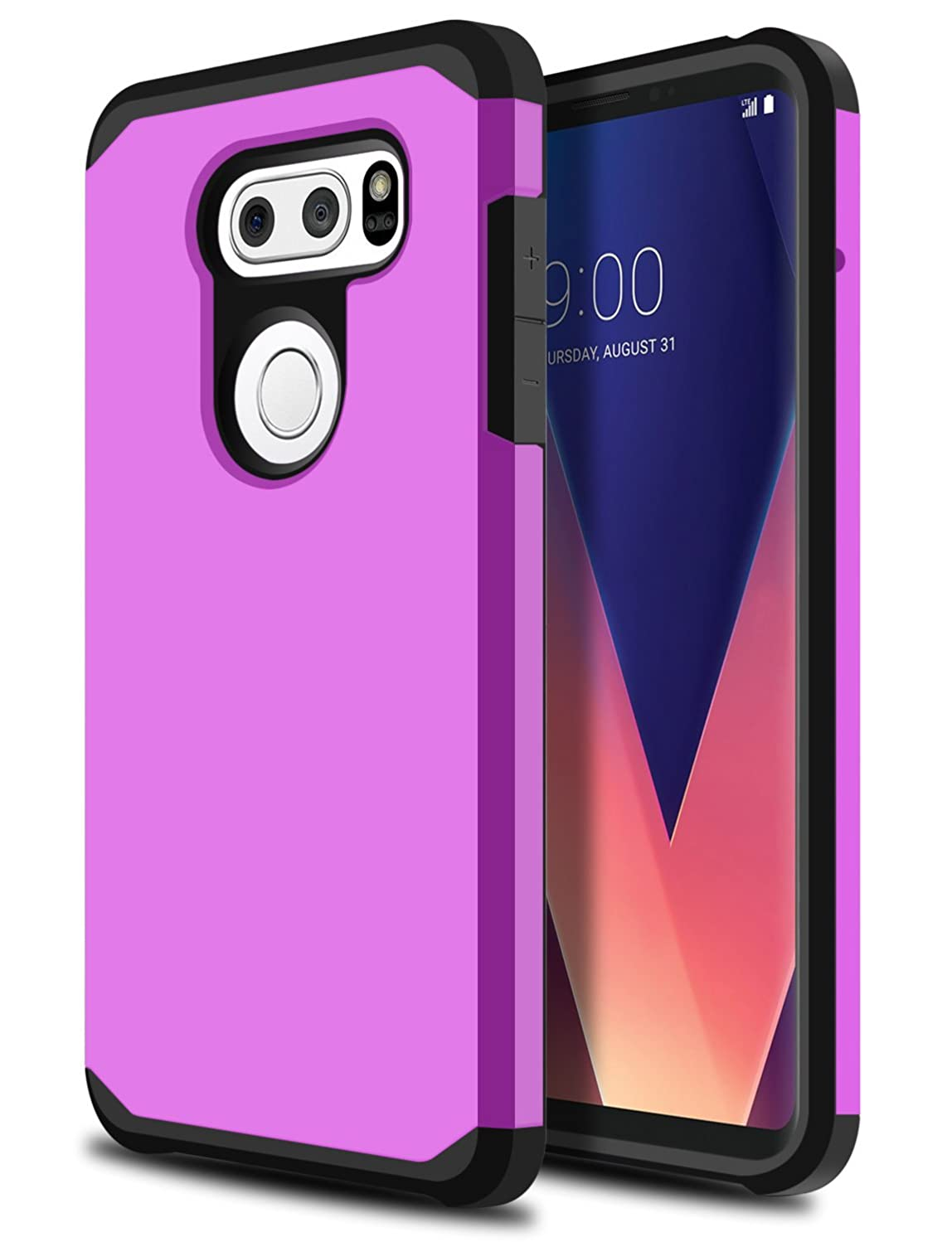 LG V30 Case, LG V30 Plus Case, OTOONE [Slim Fit] Dual Layer Heavy Duty Protection Rubber Silicone Matte Cover for LG V30+ 2017 Without Built IN Screen Protector (Purple)