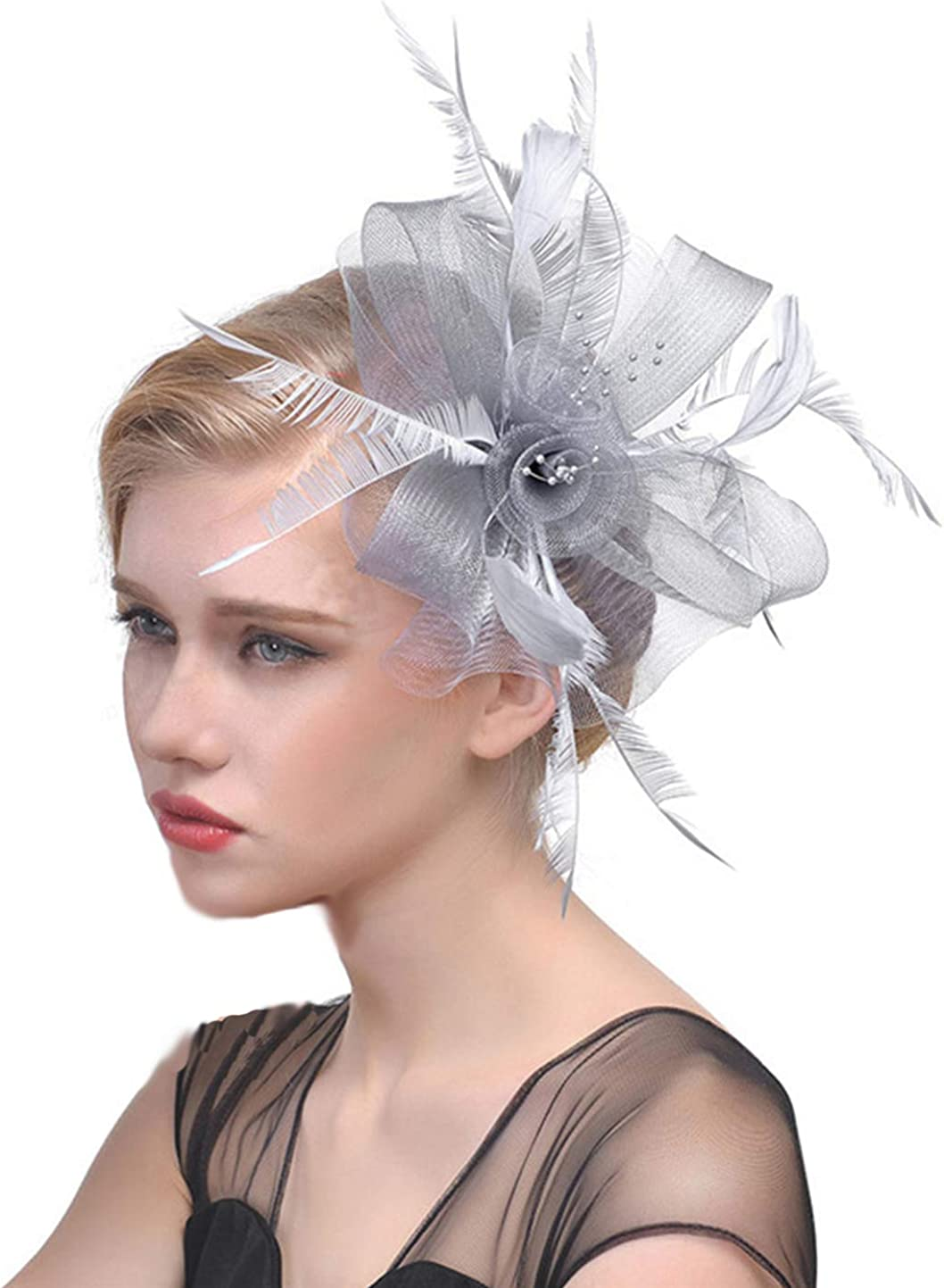 Fascinator Flower Mesh Ribbons Feathers on Headband and Clip Tea Party Headwear