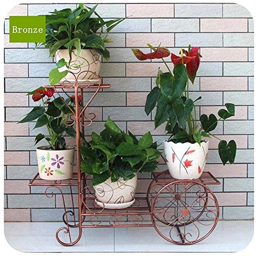 QFF Ensemble de fleurs en fer à fleurs Chaise en poudre à l'intérieur Plancher de bois massif Ensemble de fleurs en plein air blanc ( Couleur : Bronze , taille : 75*27*70cm )