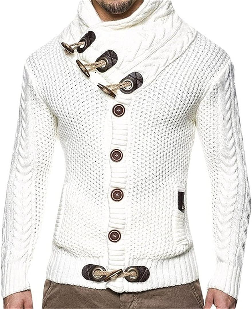 Sinubiser Men Long Sleeve Knitted Turtleneck Sweaters Streetwear Pullovers