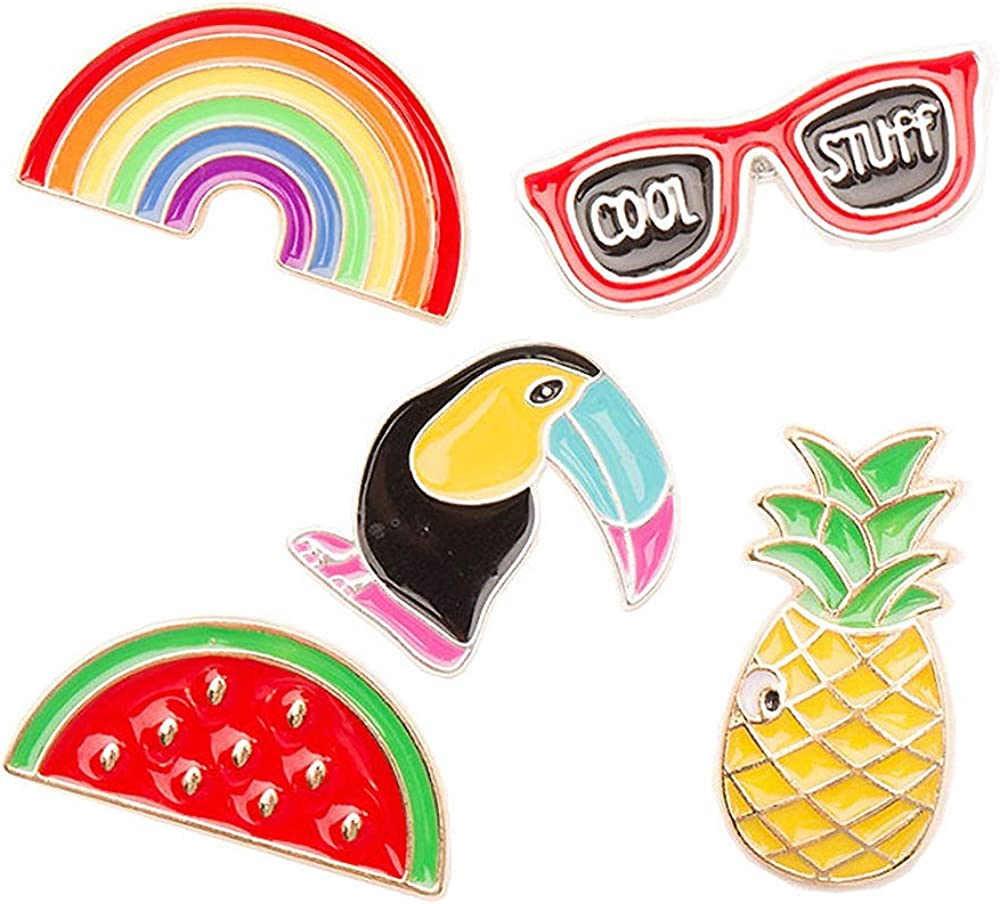 FLYPARTY 5 Pcs Cute Enamel Lapel Pins Set Cartoon Animal Plant Fruits Foods Brooches Pin Badges for Clothing Bags Backpacks Jackets Hat Accessory Decoration