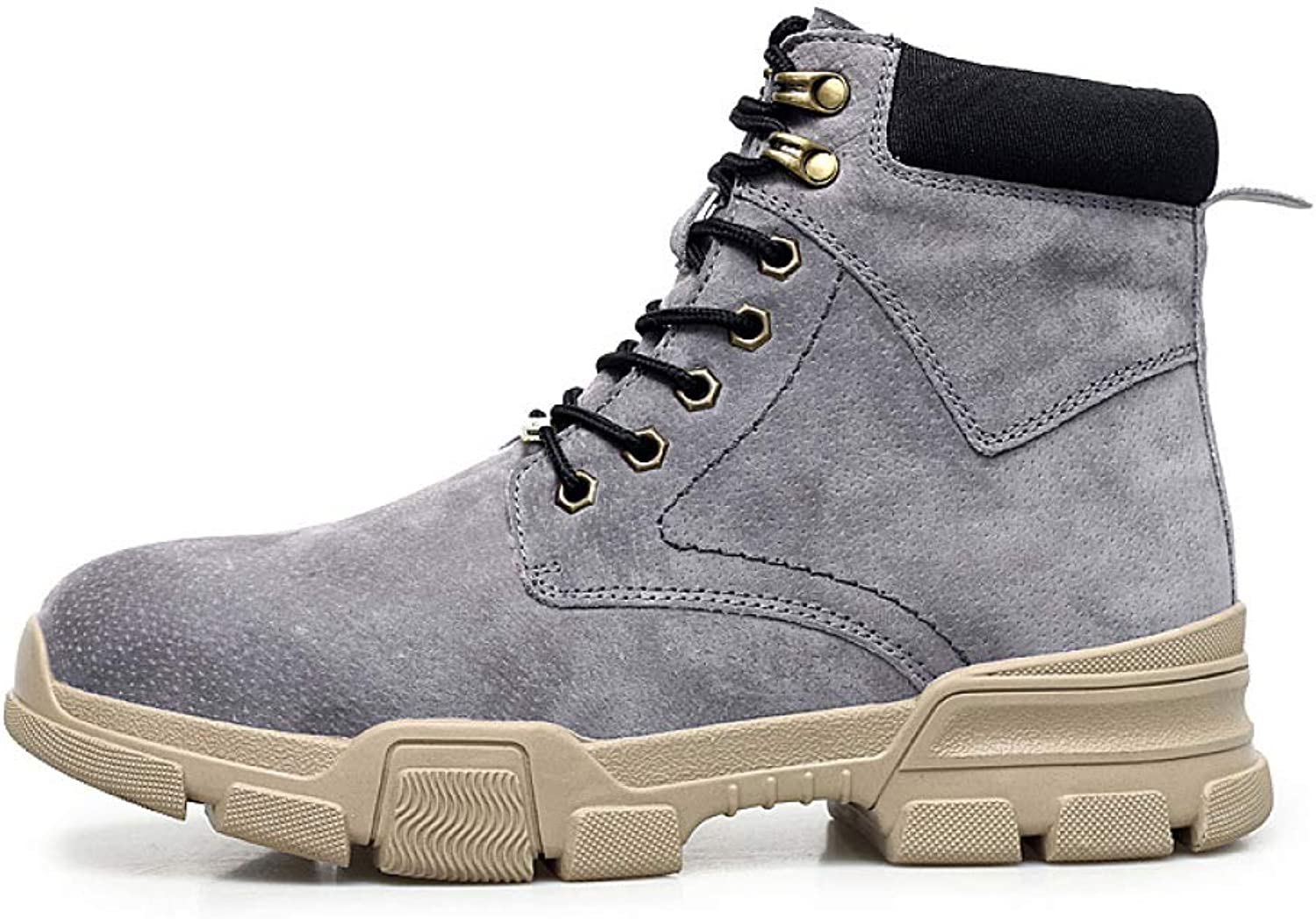 DZX Mens Snow Boots Winter Warm Fur Lined Martin Boots Antiskid Lace Up Flat Boots,Comfy Casual Sneaker,Suede Leather shoes Trekking Walking,Grey-38