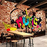 WLPBH Mural Autoadhesivo 3D Papel Tapiz (W)350X(H)256Cm Graffiti Music Brick...