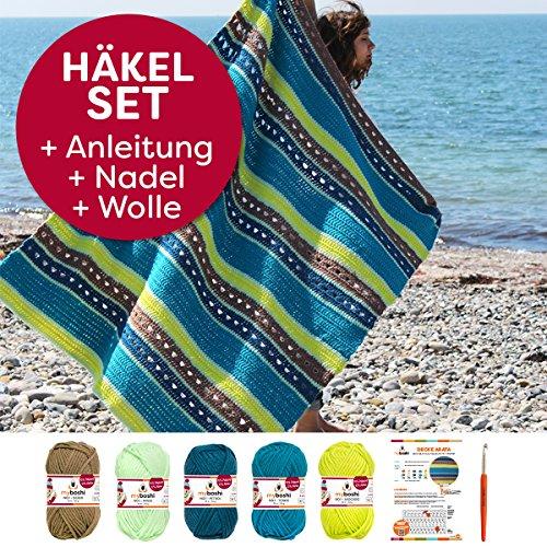 myboshi Häkel-Set Decke Arata | aus No.1 | Anleitung + Wolle | mit Häkelnadel | Decken-Häkel-Set | Ocker Minze Petrol Türkis Avocado