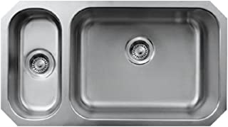 Brushed Stainless Steel Whitehaus WHNDBU3318-BSS NoahS Collection 33 1//2-Inch Double Bowl Undermount Sink