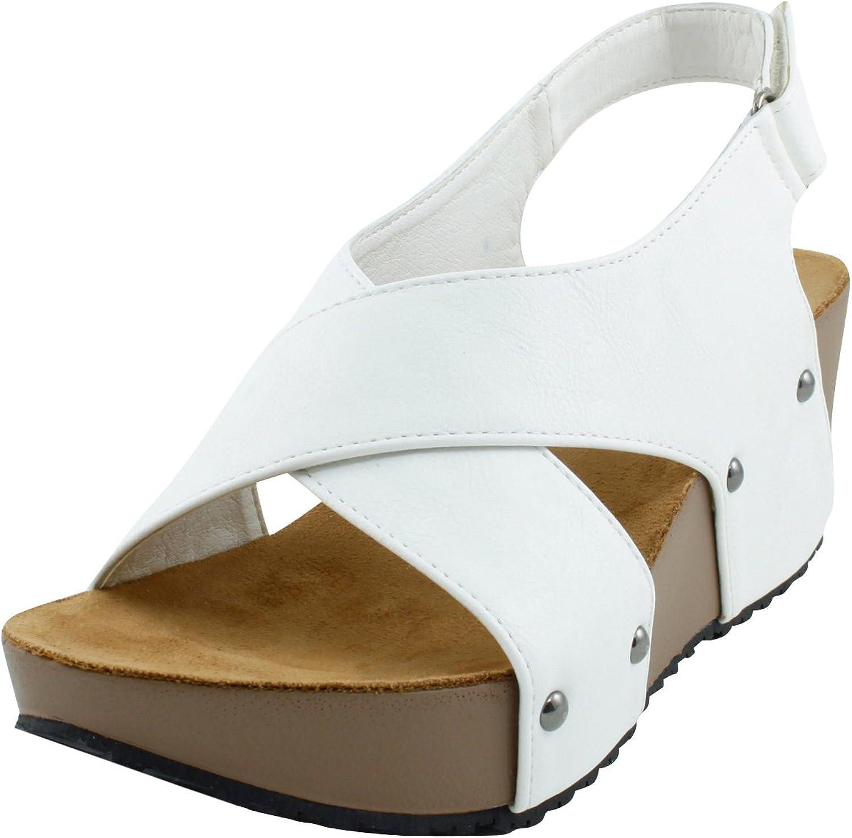 Cambridge Select Women's Open Toe Studded Crisscross Strappy Slingback Platform Wedge Sandal