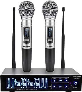 GEARDON سیستم میکروفون دوگانه دوگانه، 200 کانال UHF فلزی بدون سیم فلش دستی با عملکرد 250ft بلند پرواز حرفه ای برای ارائه / کلیسا / کارائوکه