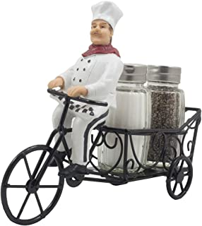 French Chef Pierre Riding Bicycle Cart Salt and Pepper Shaker Set Display Stand Figurine for Decorative Restaurant Dining Room Table Centerpieces or Cottage Kitchen Decor Spice Racks As Wedding Gifts
