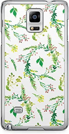 Floral Samsung Note 4 Transparent Edge Case - Green and White