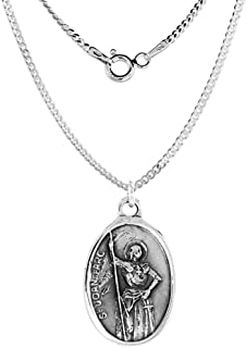 Sterling Silver St Joan of Arc Medal Necklace Oval 1.8mm Chain