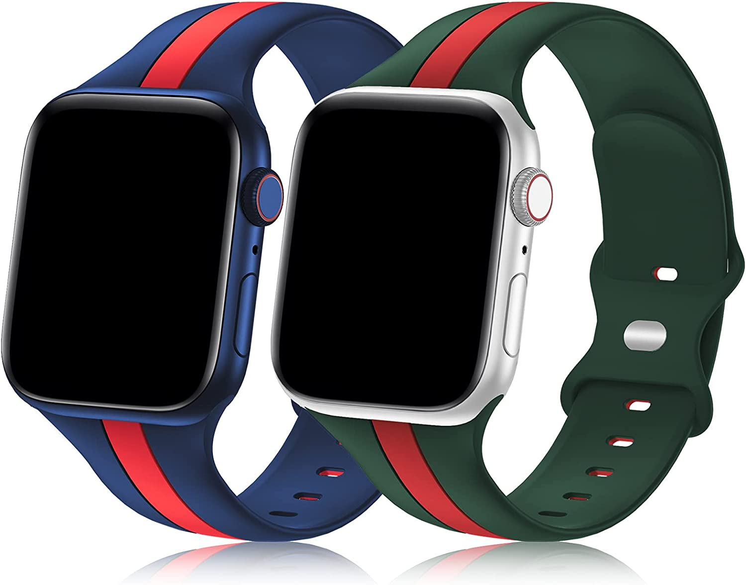 Bagoplus 2 Pack Designer Sport Band Compatible with Apple Watch Band 38mm 40mm 41mm 42mm 44mm 45mm iWatch Bands for Women Men, Soft Silicone Sport Strap for Apple Watch Series 7 6 5 4 3 SE 2 1