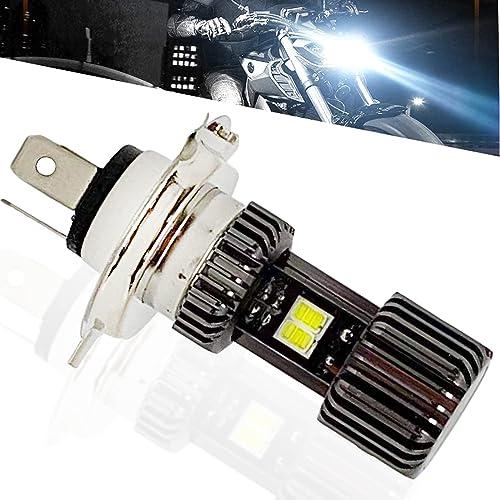 SageSunny Ampoule H4 HS1 Led moto Phare Avant de Moto ventile AC/DC 10-85V feux croisement et feu route 6500K blanc p...