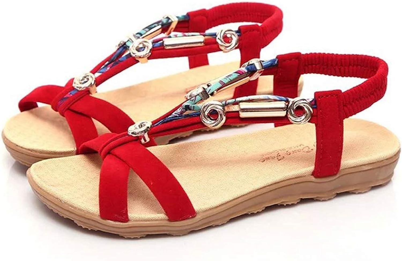 Btrada Women's Summer Sandals Peep-Toe Ladies Rhinestone Flat All Match shoes Casual Beach Dress shoes