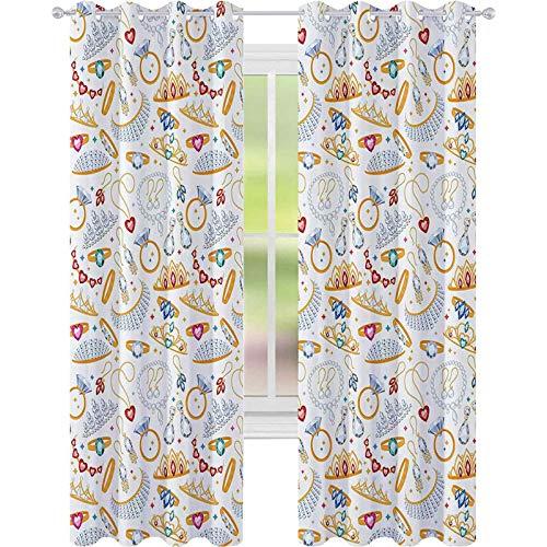 Cortinas opacas, patrón con accesorios de joyería, anillos de diamante, pendientes de tiara, collar con piedras, imagen de 52 x L95, cortinas opacas modernas para dormitorio, blanco y amarillo