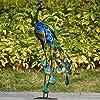 TERESA'S COLLECTIONS 35 inch Metal Peacock Decor Garden Statues and Sculptures, Garden Art Sculptures Standing Indoor Outdoor for Backyard Porch Patio Lawn Decorations #5