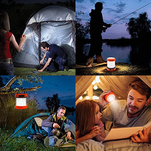 ThorFire LED Camping Light, USB Rechargeable Camping Lantern and Hand Crank Powered, Portable Collapsible Outdoor Lantern, Searchlight for Emergency, Tent, Hiking, Fishing and Camping