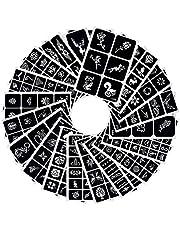 282 Wzory Szablony do tymczasowych tatuaży Zdejmowane naklejki z tatuażami Szablony do malowania twarzy Body Art Zestaw szablonów na tatuaże brokatowe/Farba do twarzy/Tymczasowy tusz do tatuażu