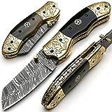Cuchillo plegable, navaja de bolsillo, cuchillo hecho a mano a medida, cuchillo de acero de hoja de Damasco, con funda de cuero, cuchillo de cocina artesanal, cuchillo de cocina forjado a mano 8904